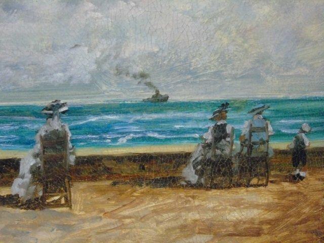 Turri - Oil Painting on Canvas French Beach Scene - 4