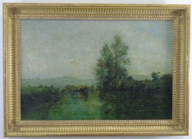 Antique Oil on Canvas Landscape Painting C 1875
