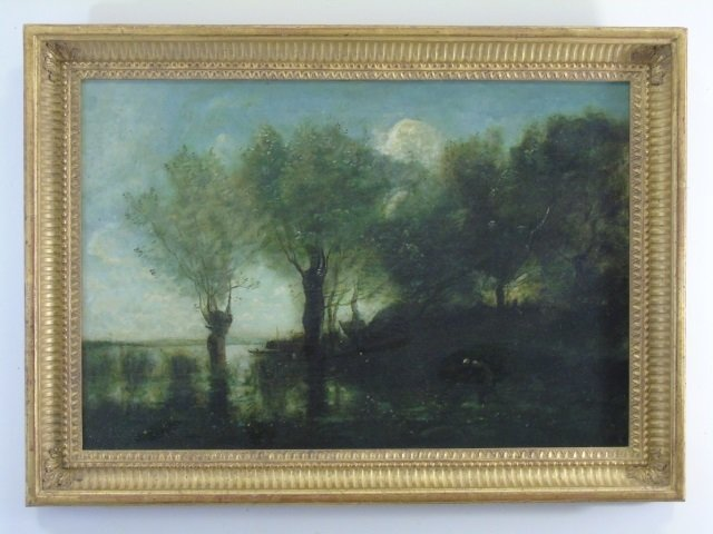 Antique French Barbizon School Style Oil Painting