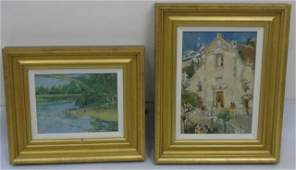 Two Contemporary Oil Paintings on Board Signed JC