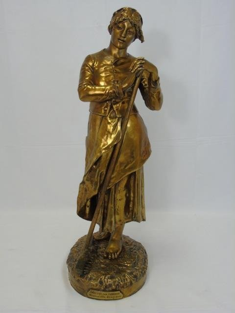 JEAN JULES CAMBOS Gilt Bronze Statue of a Lady