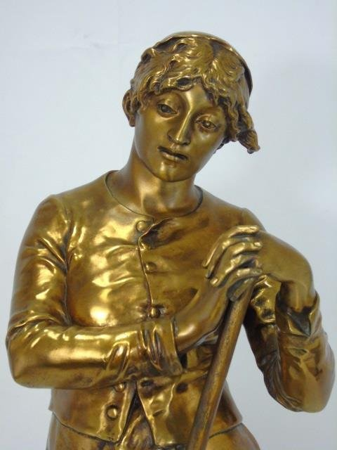 JEAN JULES CAMBOS Gilt Bronze Statue of a Lady - 3