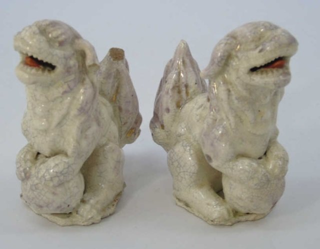 Pair Antique 19th C Chinese Crackleware Foo Dogs