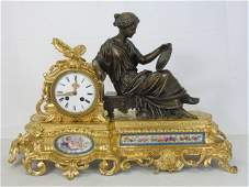 Antique 19th C French Gilt Bronze Mantle Clock