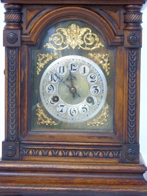 Vintage Mahogany Ornately Carved Mantel Clock - 10