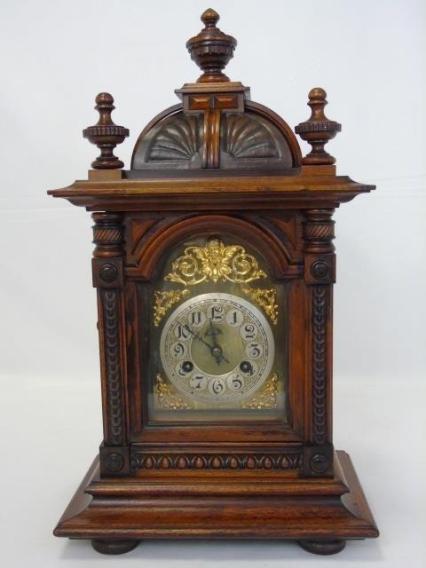 Vintage Mahogany Ornately Carved Mantel Clock