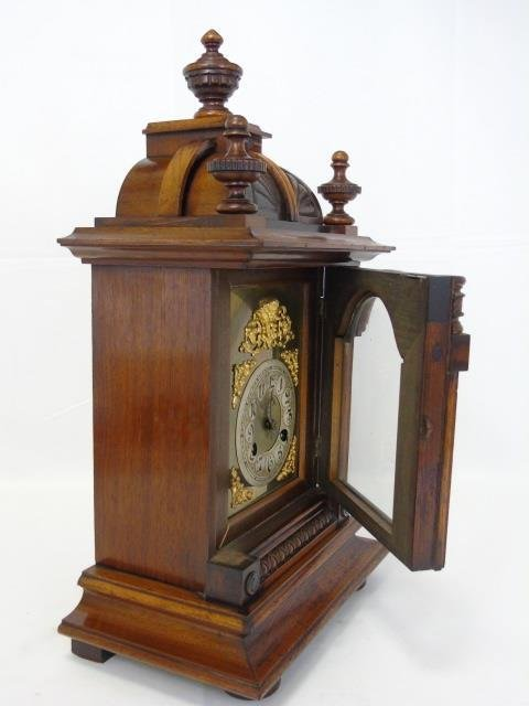 Vintage Mahogany Ornately Carved Mantel Clock - 2
