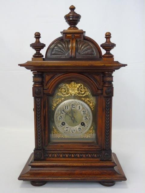 Vintage Mahogany Ornately Carved Mantel Clock - 5