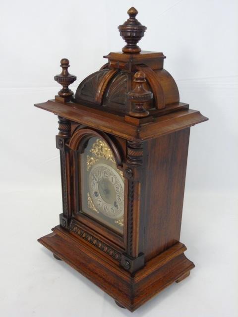 Vintage Mahogany Ornately Carved Mantel Clock - 9