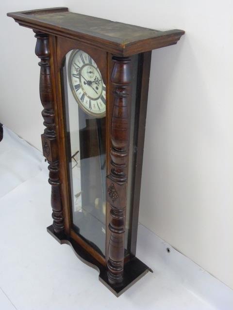 Vintage Mahogany Tavern Style Carved Wall Clock - 2