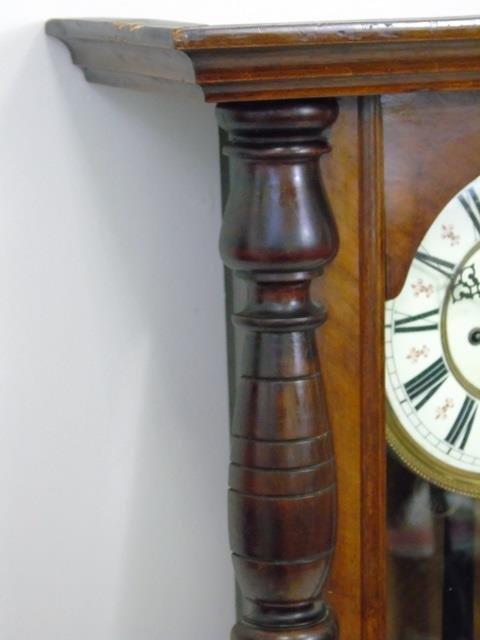 Vintage Mahogany Tavern Style Carved Wall Clock - 4