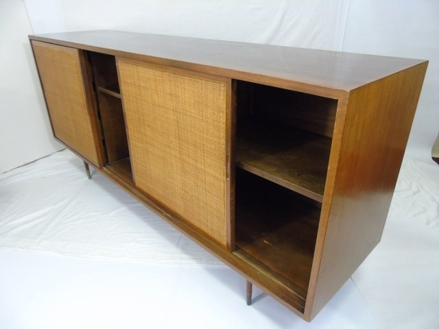 Mid Century Modern Cane Front Buffet Cabinet - 5