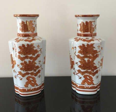 Pair Large Chinese Porcelain Baluster Vases