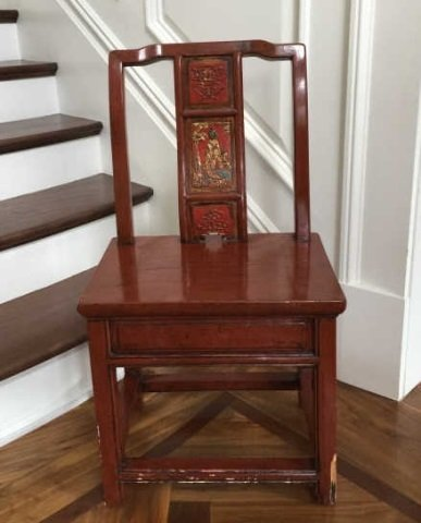 Antique Chinese Lacquer Paint Mandarin Style Chair