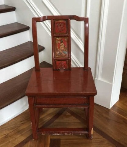 Antique Chinese Lacquer Paint Mandarin Style Chair - 2