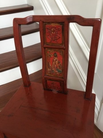 Antique Chinese Lacquer Paint Mandarin Style Chair - 3
