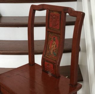 Antique Chinese Lacquer Paint Mandarin Style Chair - 4