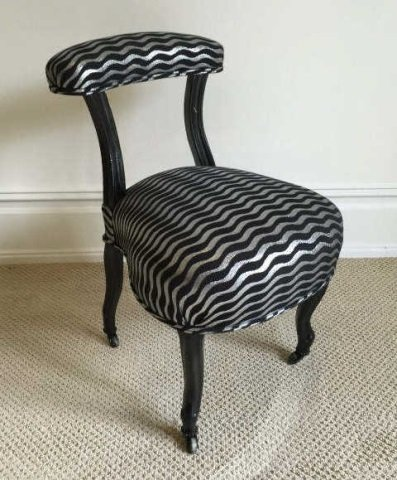 Pair Antique Slipper Chairs w Modern Upholstery - 3