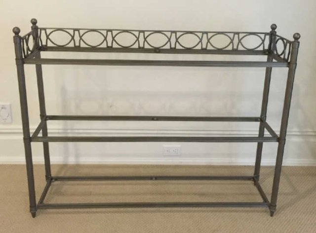 Contemporary Wrought Iron & Glass Etagere