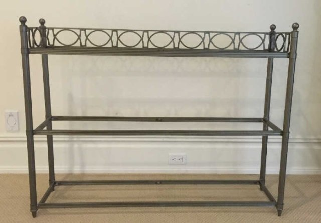 Contemporary Wrought Iron & Glass Etagere - 3