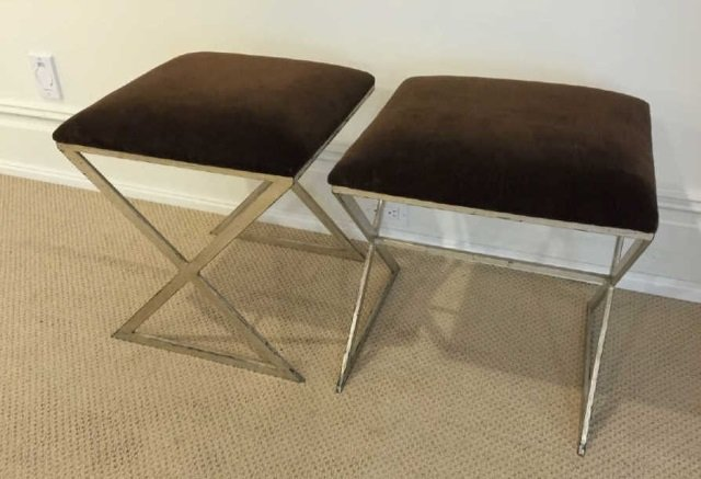 Pair Contemporary Silver Leaf & Velvet Ottomans - 3