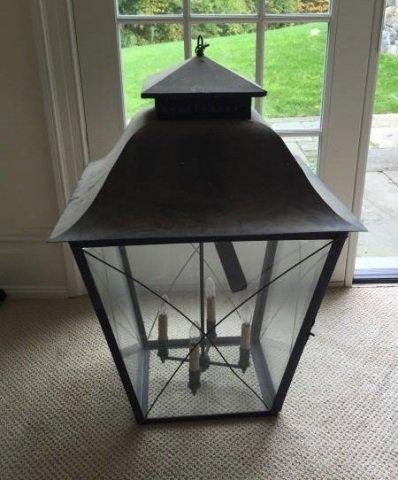 Large Modern Glass & Metal Lantern Chandelier