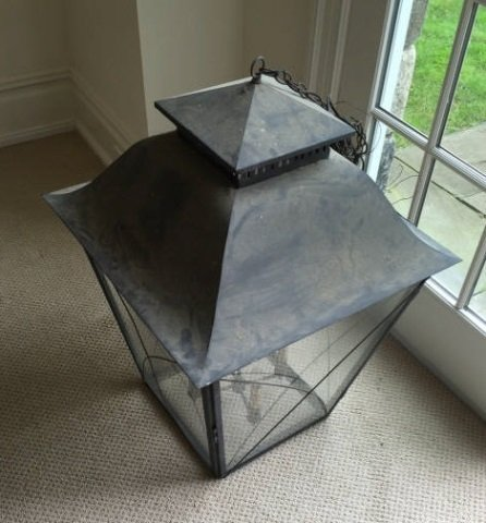 Large Modern Glass & Metal Lantern Chandelier - 2
