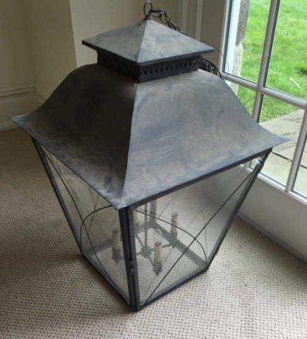 Large Modern Glass & Metal Lantern Chandelier - 3