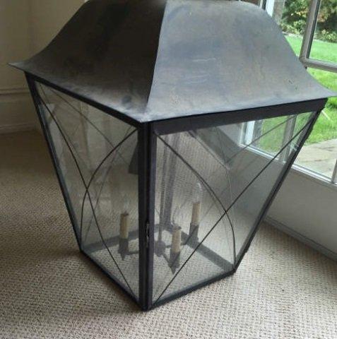 Large Modern Glass & Metal Lantern Chandelier - 4