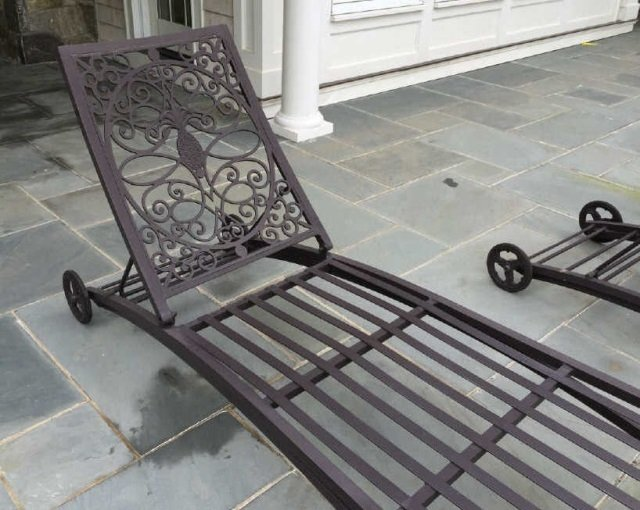 Pair Brown Jordan Cast Iron Pool / Lounge Chairs - 2