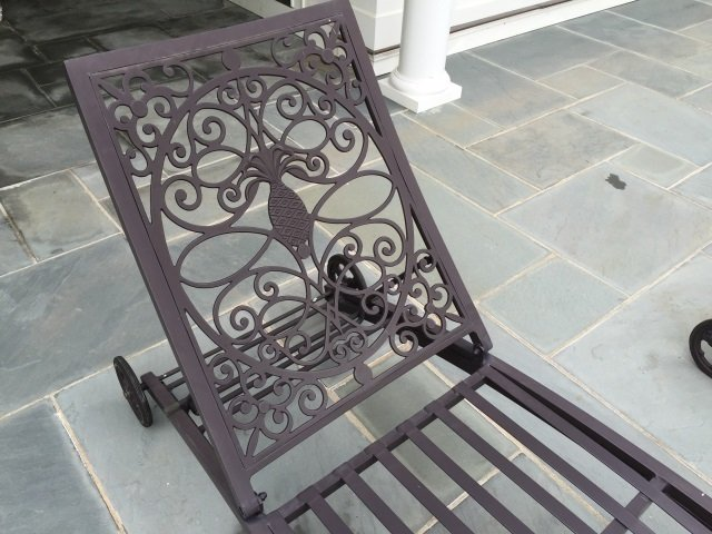 Pair Brown Jordan Cast Iron Pool / Lounge Chairs - 3