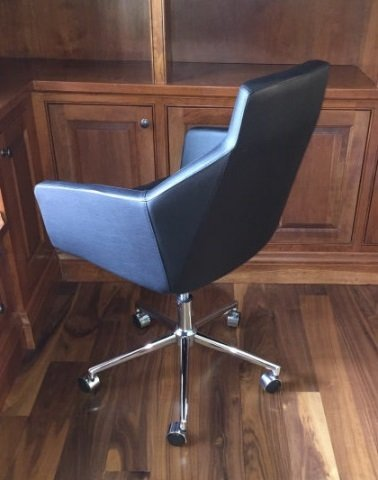 Contemporary Modern Black Leather Desk Chair - 2