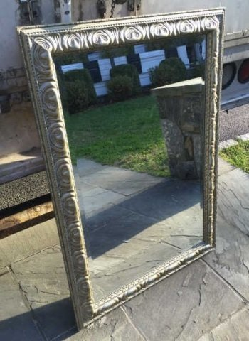 Contemporary Silver Leaf Carved Frame Mirror