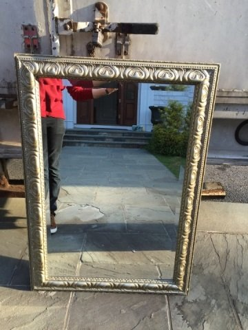 Contemporary Silver Leaf Carved Frame Mirror - 4