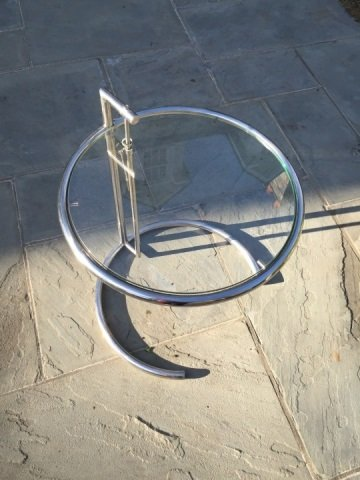 Mid Century Style Chrome & Glass Round End Table - 3