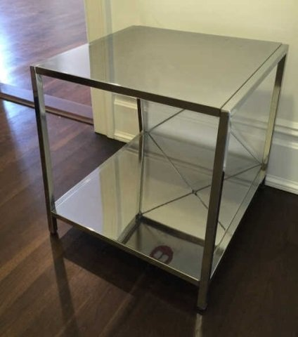 Contemporary Modern Chrome Tone Metal End Table