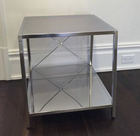 Contemporary Modern Chrome Tone Metal End Table - 3