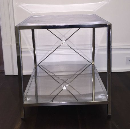 Contemporary Modern Chrome Tone Metal End Table - 2