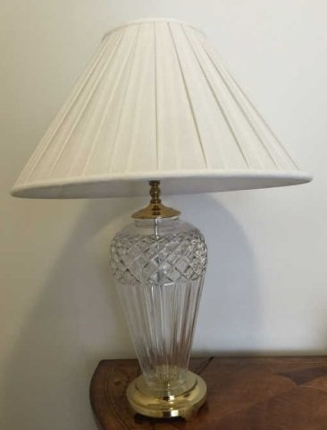 Contemporary Waterford Crystal Lamp w White Shade