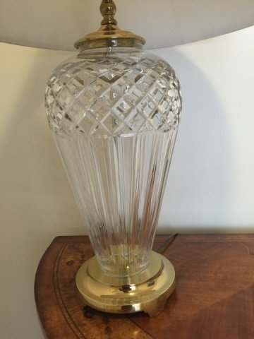 Contemporary Waterford Crystal Lamp w White Shade - 3