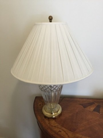 Contemporary Waterford Crystal Lamp w White Shade - 4