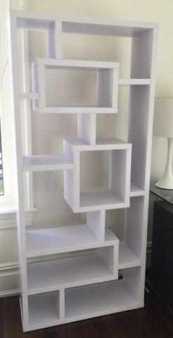 Contemporary White Mondrian Style Bookcase Unit - 2