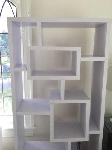 Contemporary White Mondrian Style Bookcase Unit - 4