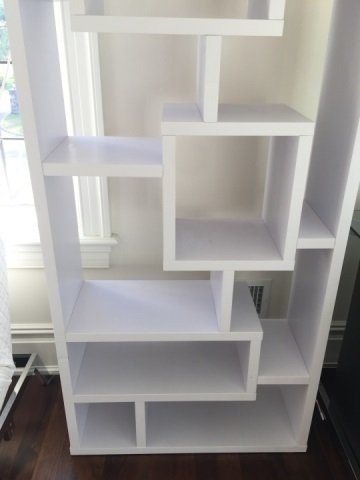 Contemporary White Mondrian Style Bookcase Unit - 5