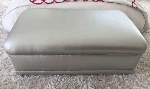 Custom Made Contemporary Silver Ottoman Bench