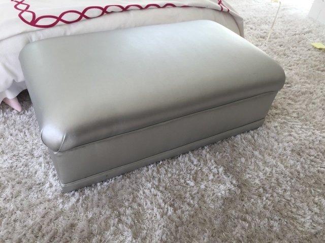 Custom Made Contemporary Silver Ottoman Bench - 2