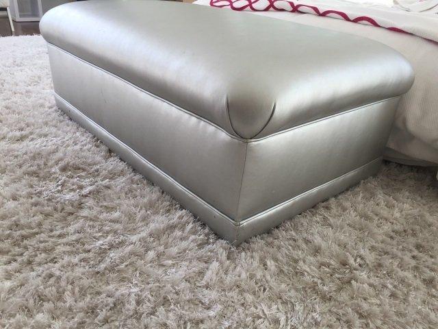 Custom Made Contemporary Silver Ottoman Bench - 3