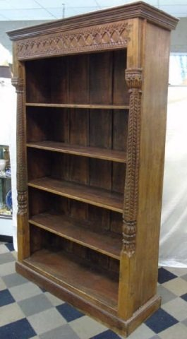 Antique Wood Carved Indonesian Bookcase w Columns