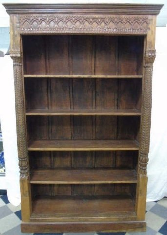 Antique Wood Carved Indonesian Bookcase w Columns - 2