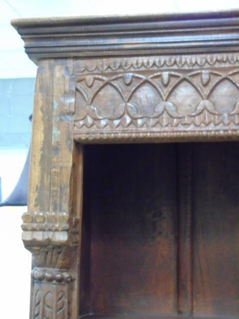 Antique Wood Carved Indonesian Bookcase w Columns - 3